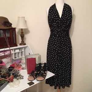Evan Picone Black Dress with white polka dots